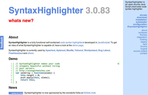 SyntaxHighlighter 3.0.83
