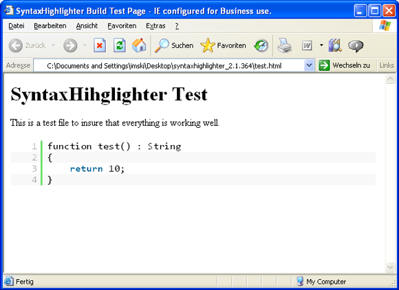 SyntaxHighlighter Test